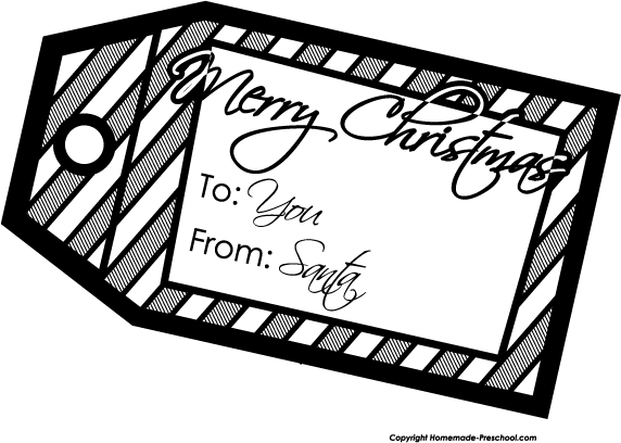 click to save image - Free Christmas Clip Art Black And White