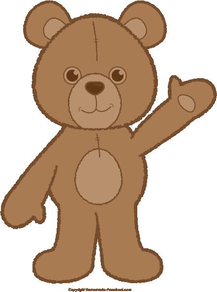 teddy bear waving brown png rh homemade preschool com baby bear clipart images baby bear clipart images