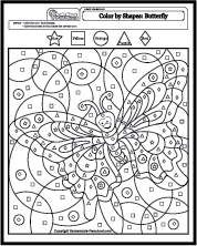 math worksheet : color by shapes butterfly : Butterfly Math Worksheets
