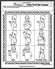Worksheets Sign Language Worksheets happy hands sign language
